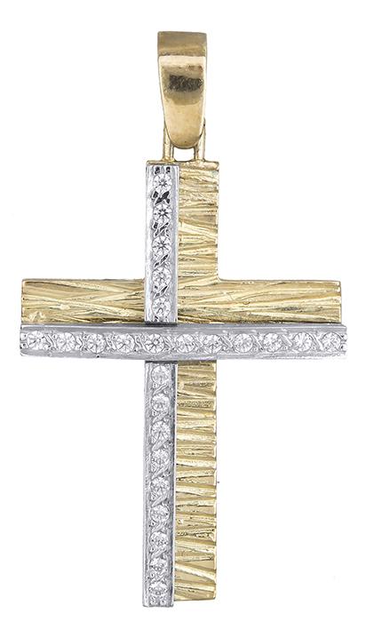 Σταυροί Βάπτισης - Αρραβώνα Σταυρός δίχρωμος Κ14 002614 002614 Γυναικείο Χρυσός 14 Καράτια