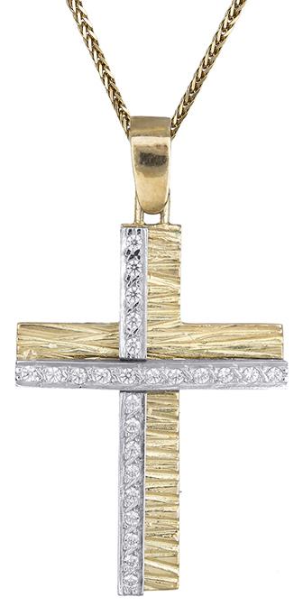 Βαπτιστικοί Σταυροί με Αλυσίδα Γυναικείος δίχρωμος σταυρός 14Κ C002614 002614C Γυναικείο Χρυσός 14 Καράτια