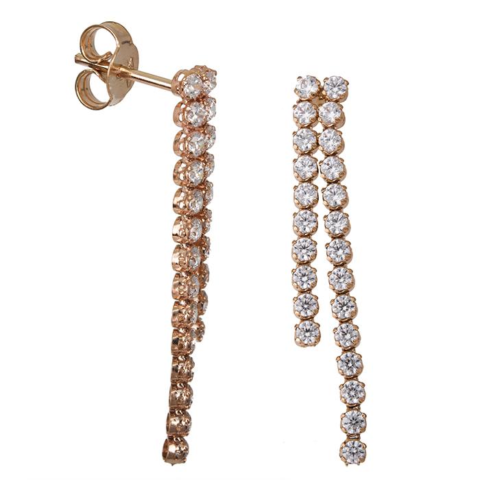 Ροζ gold σκουλαρίκια Κ14 με ζιργκόν 026737 026737 Χρυσός 14 Καράτια