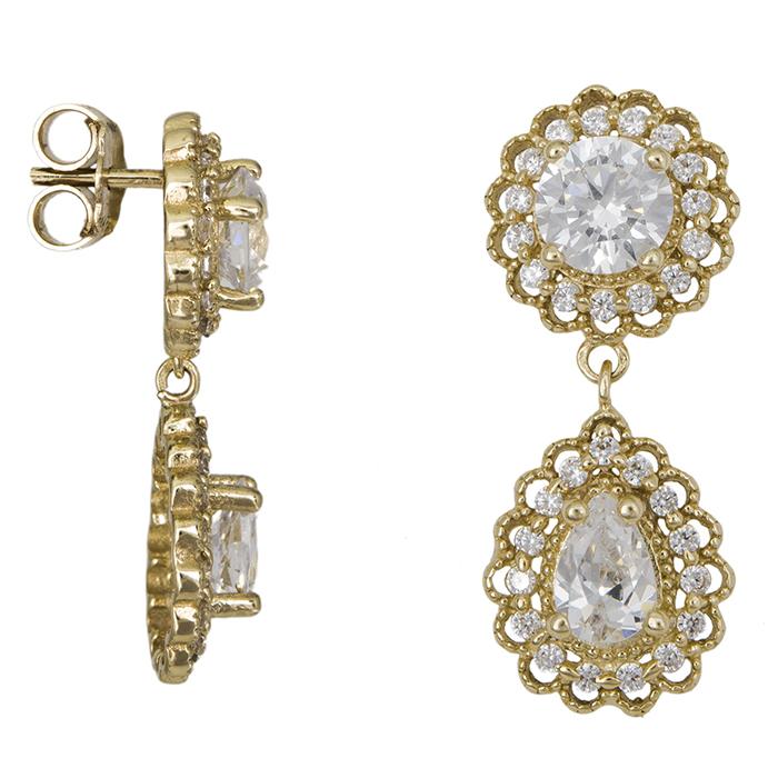 Χρυσά σκουλαρίκια ροζέτες με πέτρες Κ14 026575 026575 Χρυσός 14 Καράτια