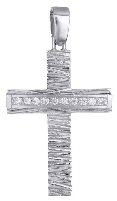 Σταυροί Βάπτισης - Αρραβώνα Σταυρός λευκόχρυσος 9Κ με ζιργκόν 012652 012652 Γυναικείο Χρυσός 9 Καράτια