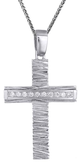 Βαπτιστικοί Σταυροί με Αλυσίδα Λευκόχρυσος σταυρός βάπτισης Κ14 C002658 002658C Γυναικείο Χρυσός 14 Καράτια