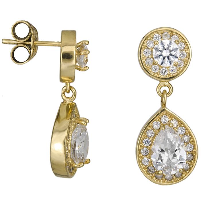 Χρυσά σκουλαρίκια με λευκές πέτρες Κ14 026653 026653 Χρυσός 14 Καράτια