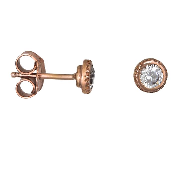 Ροζ gold σκουλαρίκια Κ14 με λευκή ζιργκόν 026712 026712 Χρυσός 14 Καράτια