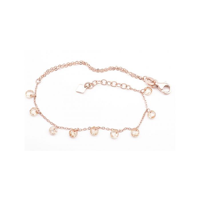 Ροζ επίχρυσο βραχιόλι Vogue με κρεμαστά ζιργκόν 925 3130302 3130302 Ασήμι