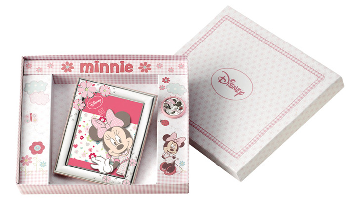 Ασημένια κορνίζα Minnie & πιπιλοπιάστρα 020432 020432 Ασήμι προτάσεις δώρου ασημένιες κορνίζες
