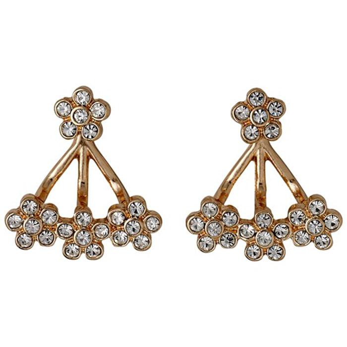 Σκουλαρίκια διπλά λουλούδια Pilgrim 611614093 611614093 Ορείχαλκος fashion jewels pilgrim σκουλαρίκια