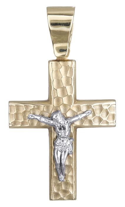 Σταυροί Βάπτισης - Αρραβώνα Σταυρός δίχρωμος 14 καράτια 006895 006895 Ανδρικό Χρυσός 14 Καράτια