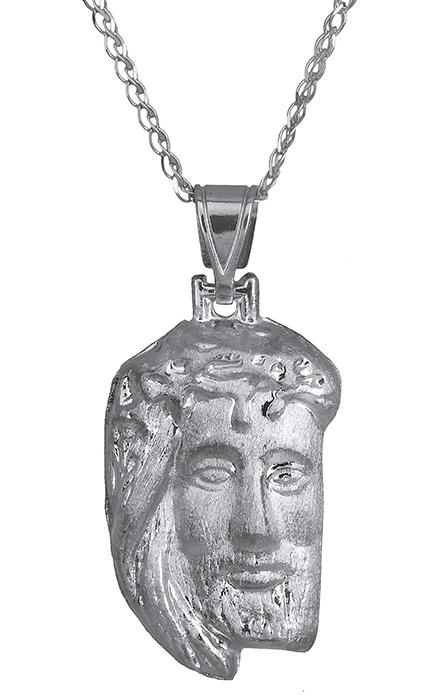 Λευκόχρυσο φυλαχτό Κ9 - κεφαλή Χριστού C015077 015077C Χρυσός 9 Καράτια