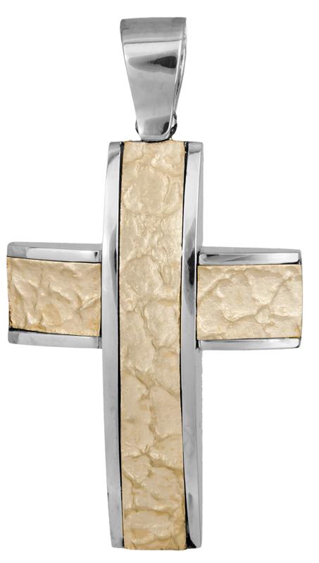 Σταυροί Βάπτισης - Αρραβώνα Δίχρωμος βαπτιστικός σταυρός 14Κ 008182 008182 Ανδρικό Χρυσός 14 Καράτια