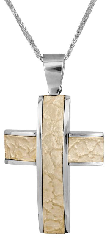 Βαπτιστικοί Σταυροί με Αλυσίδα Δίχρωμος σταυρός βάπτισης 14Κ C008182 008182C Ανδρικό Χρυσός 14 Καράτια
