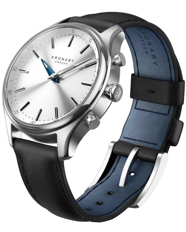 Kronaby Sweden connected Black leather strap A1000-0657 A1000-0657 Ατσάλι