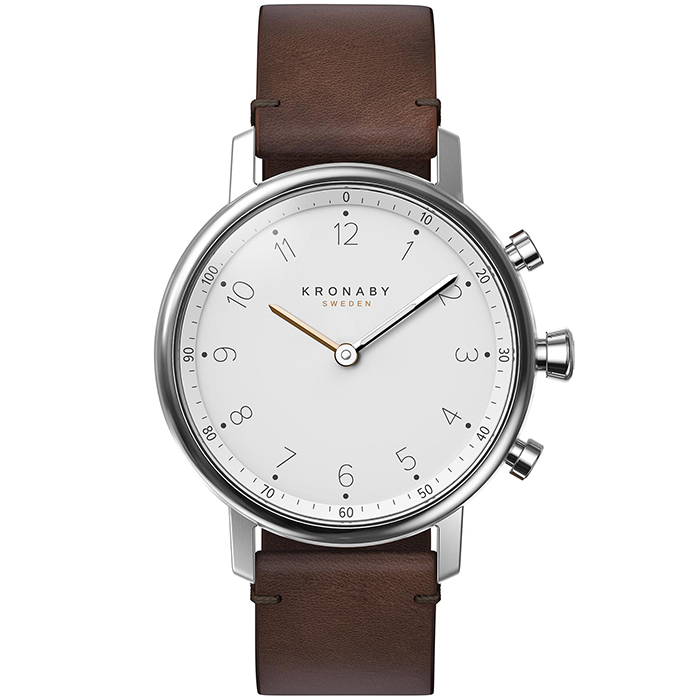 Kronaby Sweden connected Nord Brown leather strap A1000-0711 A1000-0711 Ατσάλι