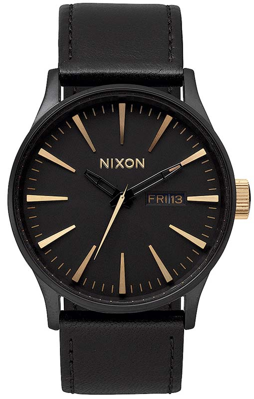 Ρολόι Nixon Senter Black Leather Strap A105-1041 A105-1041 Ατσάλι