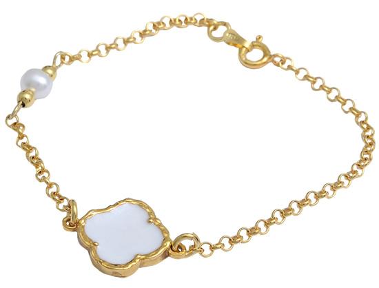 Βραχιόλι ασημένιο επίχρυσο 925 ASB186 Ασήμι ασημένια κοσμήματα βραχιόλια