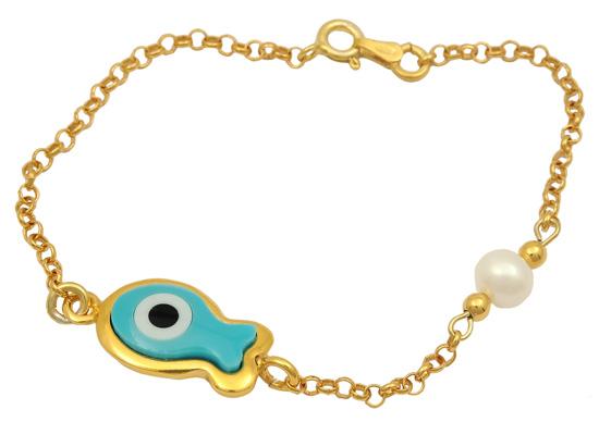 Βραχιόλι ασημένιο επίχρυσο 925 ASB315B Ασήμι ασημένια κοσμήματα βραχιόλια