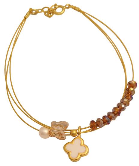 Επίχρυσο ασημένιο βραχιόλι 925 ASB450BL Ασήμι ασημένια κοσμήματα βραχιόλια