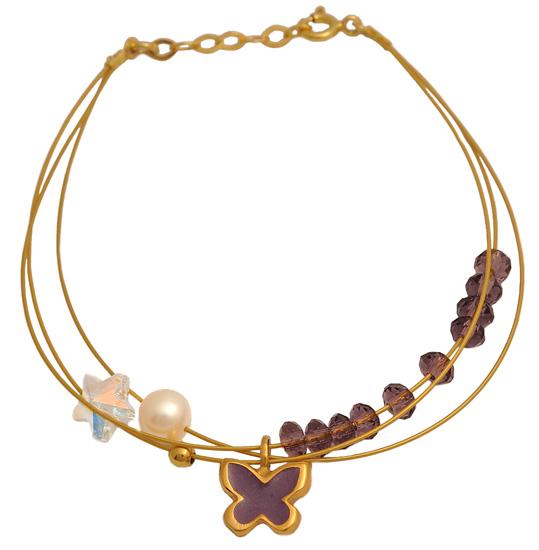 Βραχιόλι ασημένιο επίχρυσο 925 ASB450GM Ασήμι ασημένια κοσμήματα βραχιόλια