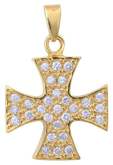 Επίχρυσος σταυρός ασημένιος 925 ASC370 Ασήμι ασημένια κοσμήματα σταυροί
