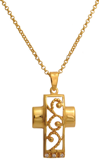 Επίχρυσος σταυρός ασημένιος 925 ASC494 Ασήμι ασημένια κοσμήματα σταυροί