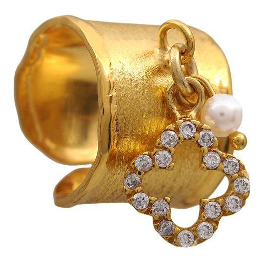 Επίχρυσο σεβαλιέ δαχτυλίδι 925 ASD317-12K Ασήμι
