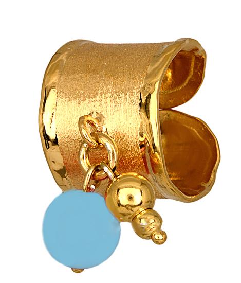 Επίχρυσο δαχτυλίδι 925 με σιέλ χαντρούλα 014889 014889 Ασήμι