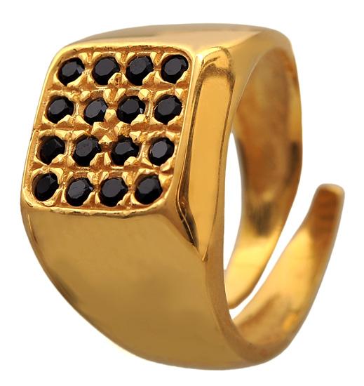 Επίχρυσο σεβαλιέ δαχτυλίδι 925 ASD324BK Ασήμι