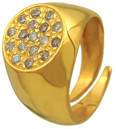 Σεβαλιέ δαχτυλίδι ασημένιο επιχρυσωμένο 925 ASD325B Ασήμι