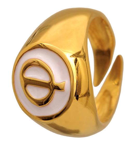 Σεβαλιέ επίχρυσο ασημένιο δαχτυλίδι 925 ASD383 Ασήμι
