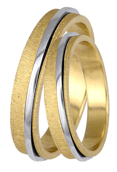 Δίχρωμη Βέρα Γάμου Κ14 BR0377 Χρυσός 14 Καράτια