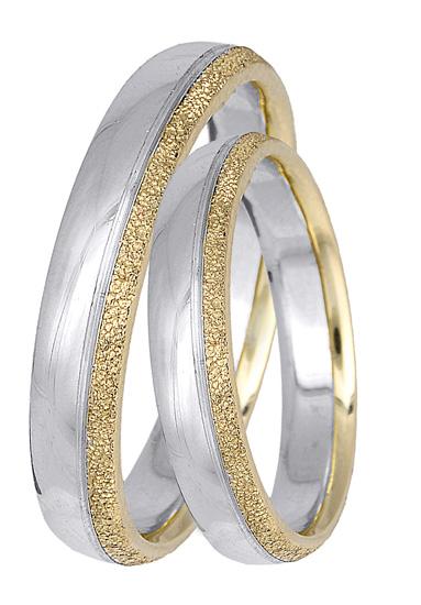 Λευκόχρυσες βέρες Κ14 με χρυσό σχέδιο BR0406 Χρυσός 14 Καράτια