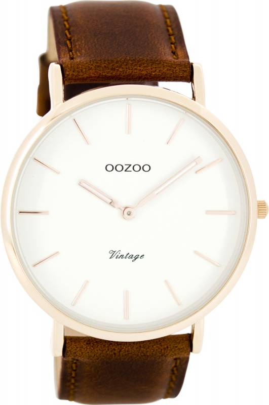 Ρολόι OOZOO Vintage Roze gold Brown leather Strap C7756 C7756