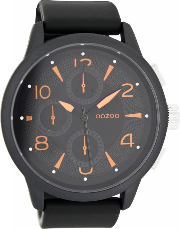 Ρολόι χειρός OOZOO XL Τimepieces Black Leather Strap C7878 C7878