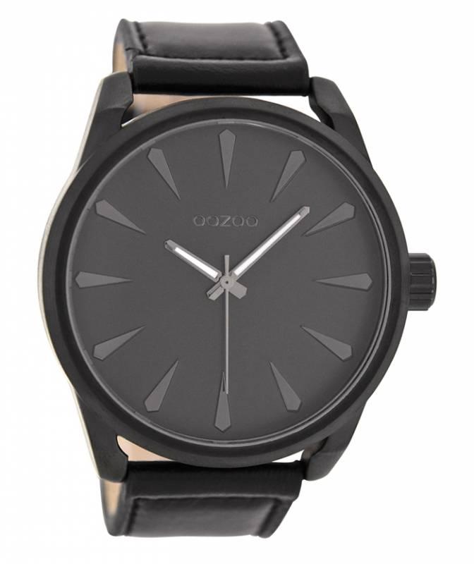 Ρολόι χειρός OOZOO Large Timepieces Black Leather Strap C8229 C8229
