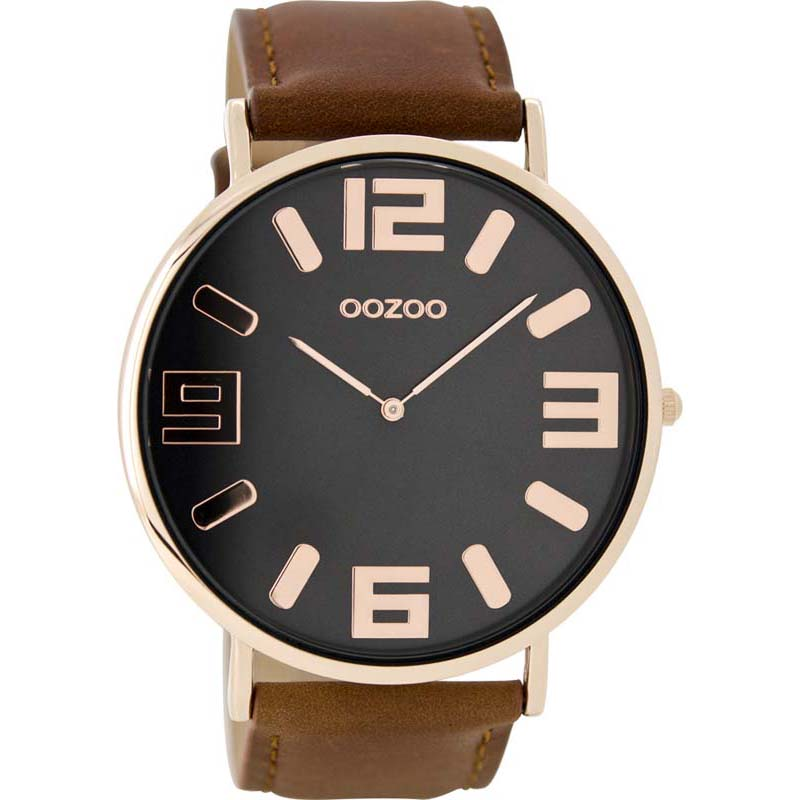 Ρολόι OOZOO Brown leather strap C8855 C8855