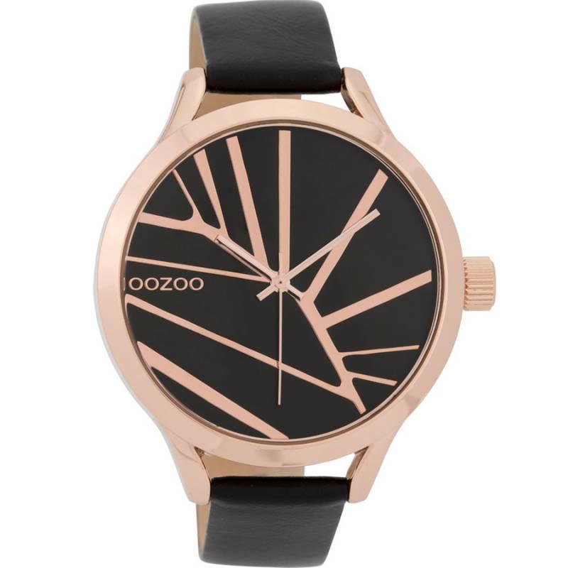 Γυναικείο ρολόι OOZOO Timepieces XL Rose Gold Black Leather Strap C9684 C9684