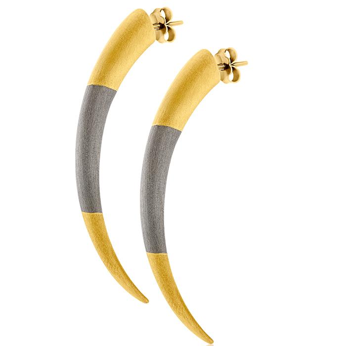 Tiger Clows Earrinigs δίχρωμα E35 E35 Ασήμι fashion jewels honor σκουλαρίκια