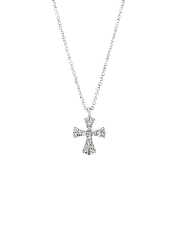 Λευκόχρυσος σταυρός Κ18 με διαμάντια Honor Omano GP013WDW GP013WDW Χρυσός 18 Καράτια
