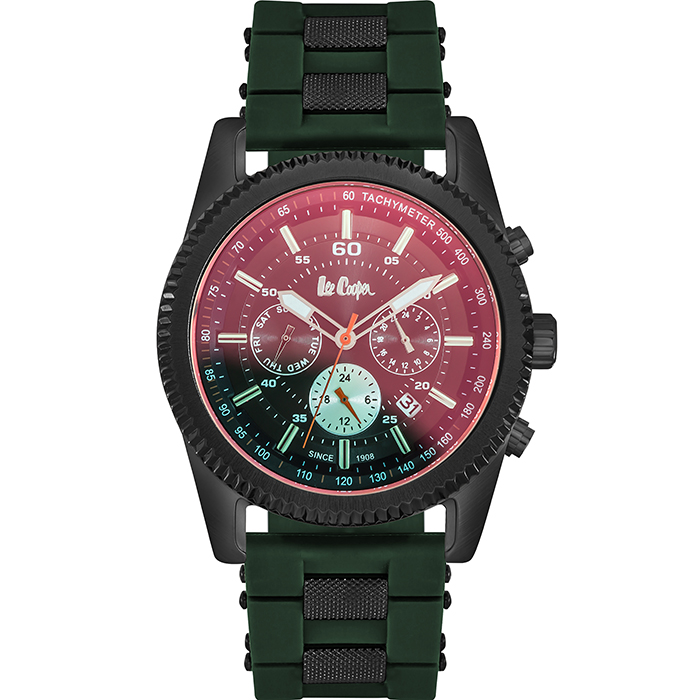 Lee cooper Black case Green Rubber Strap LC06189.655 LC06189.655