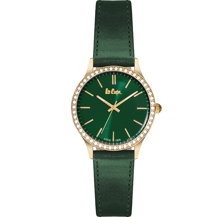 Lee cooper Ladies Crystals Green Leather strap LC06302.175 LC06302.175 Ατσάλι