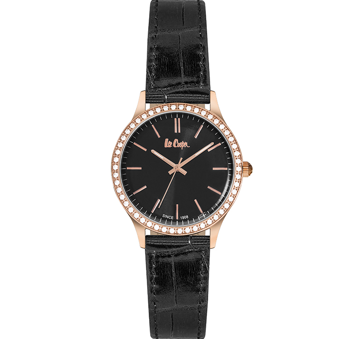 Lee cooper Ladies Crystals Black Leather strap LC06302.451 LC06302.451 Ατσάλι