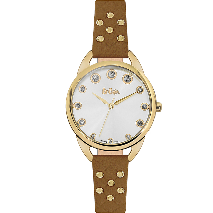 Lee cooper Ladies Crystals & Brown Leather Strap LC06388.132 LC06388.132 Ατσάλι