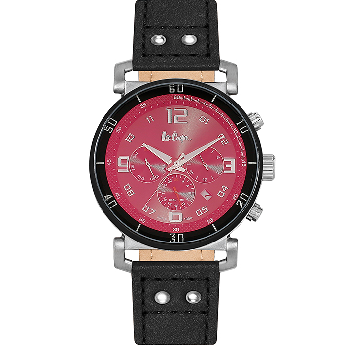 Ρολόι χειρός Multifunction Black leather strap LC06450.361 LC06450.361