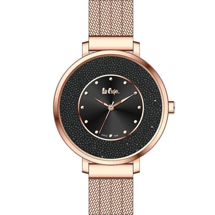 Rose gold Lee Cooper Bracelet με μαύρο καντράν LC06623.450 LC06623.450 Ατσάλι