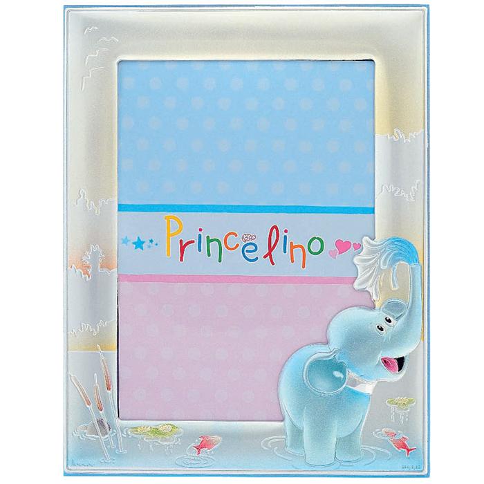 Ασημένια παιδική κορνίζα γαλάζιος ελέφαντας 029200 029200 Ασήμι