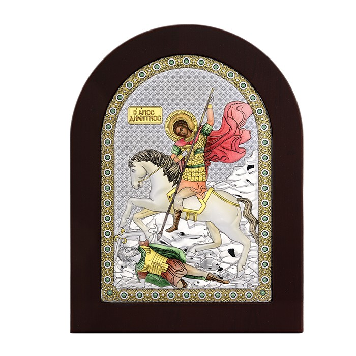 Ασημένια ανάγλυφη εικόνα του Αγίου Δημητρίου 925 032147 032147 Ασήμι