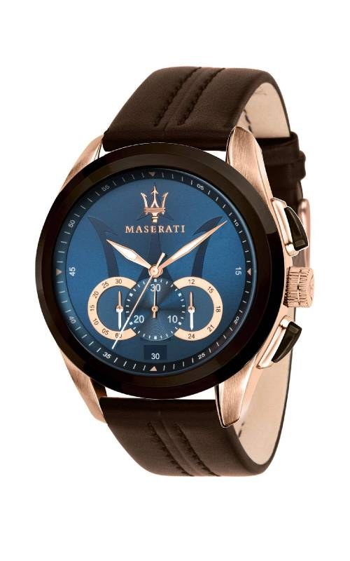 Ανδρικό ρολόι Maserati Traguardo Brown Leather R8871612024 R8871612024 Ατσάλι