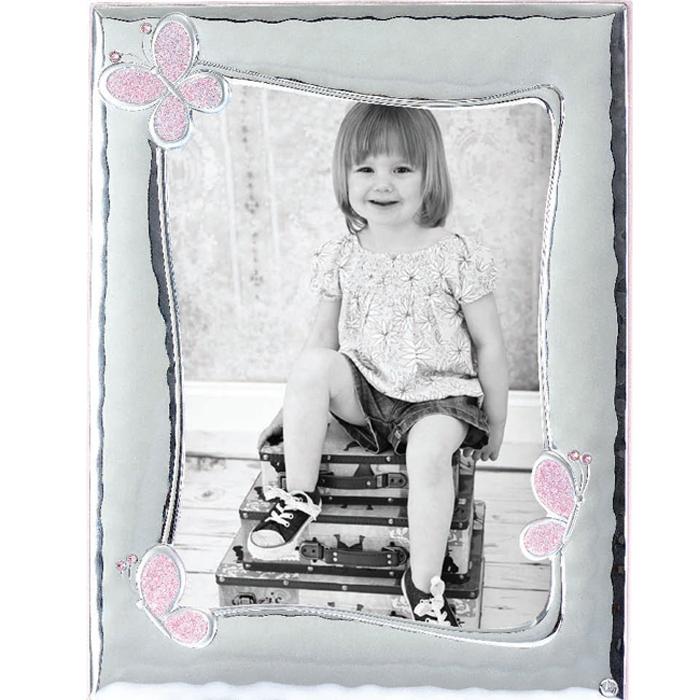 Ασημένια κορνίζα με ροζ πεταλούδες 029180 029180 Ασήμι