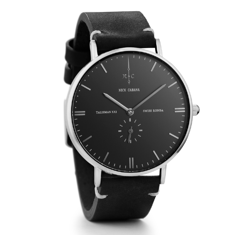 Ρολόι αντρικό Nick Cabana Talisman Black Leather strap NC108 NC108 Ατσάλι