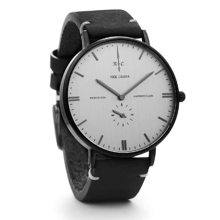 Nick Cabana ρολόι Talisman Leather Black strap NC112 NC112 Ατσάλι